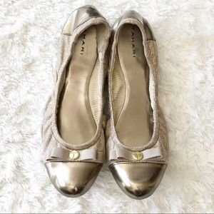 Tahari Gibson Gold Leather Ballet Flats Size 10M